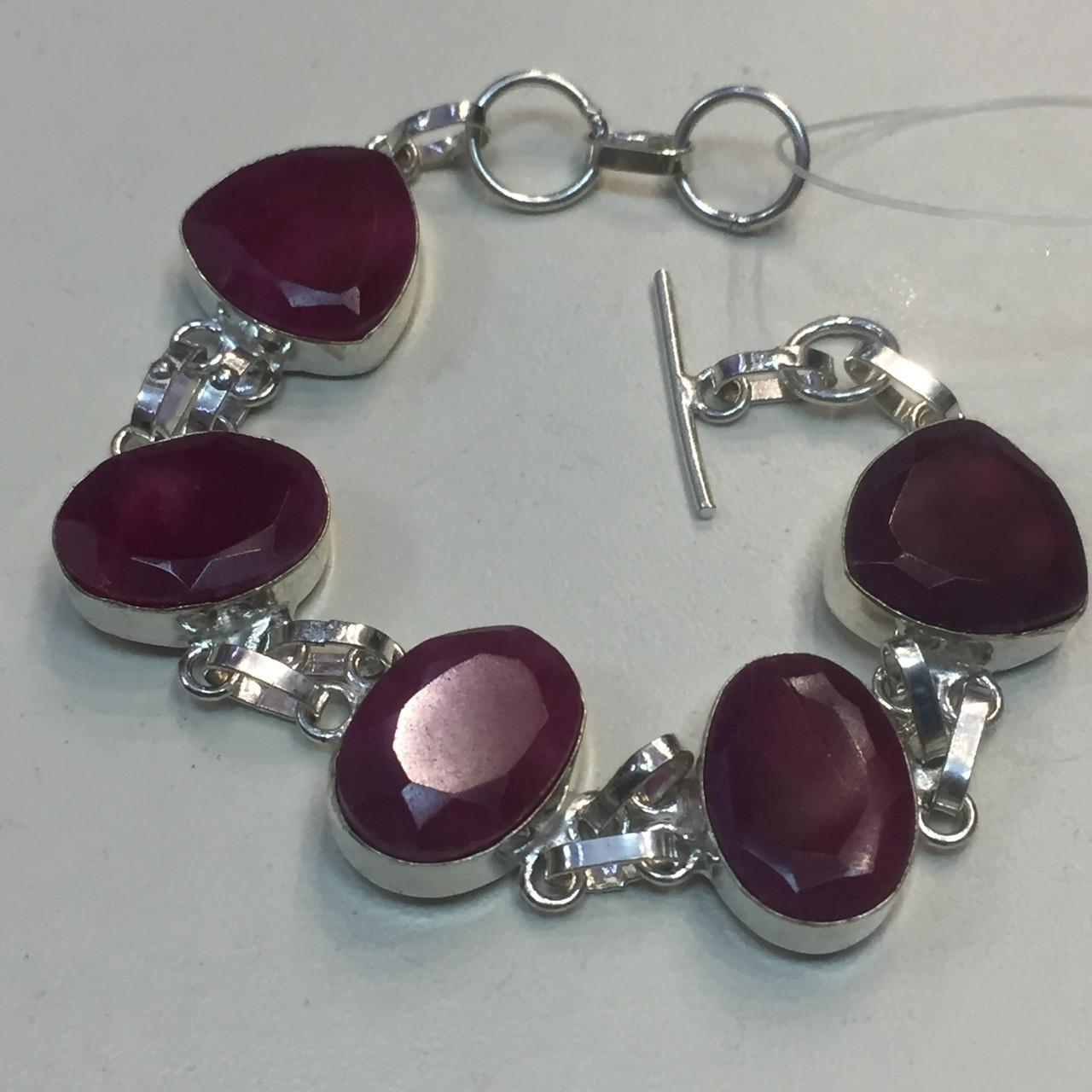 Рубин красивый браслет с рубином в серебре Индия