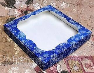 Коробка для печива, пряників з вікном, 23 см х 23 см х 3 см, мілований картон