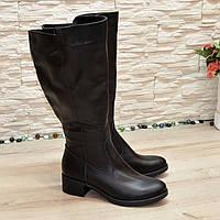 Сапоги женские кожаные на невысоком каблуке, цвет черный, фото 1