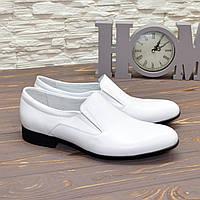 Мужские классические кожаные туфли, цвет белый, фото 1