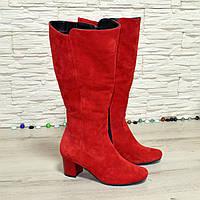 Сапоги женские замшевые на невысоком каблуке, цвет красный. Батал!, фото 1