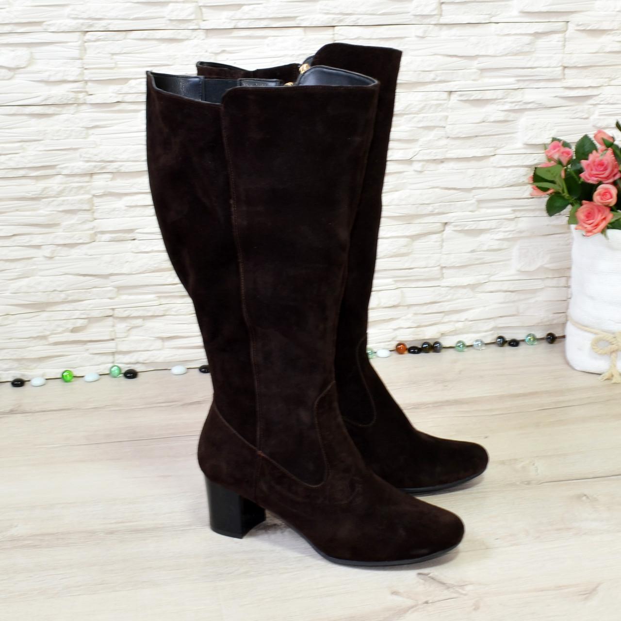 Сапоги женские замшевые на невысоком каблуке, цвет коричневый