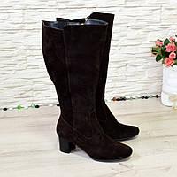 Сапоги женские замшевые на невысоком каблуке, цвет коричневый, фото 1