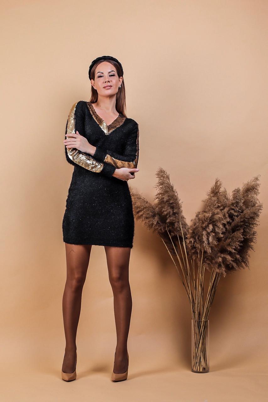 Платье женское короткое из трикотажа-травка с пайеткой приталеное (К29438)