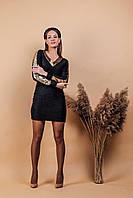 Платье женское короткое из трикотажа-травка с пайеткой приталеное (К29438), фото 1