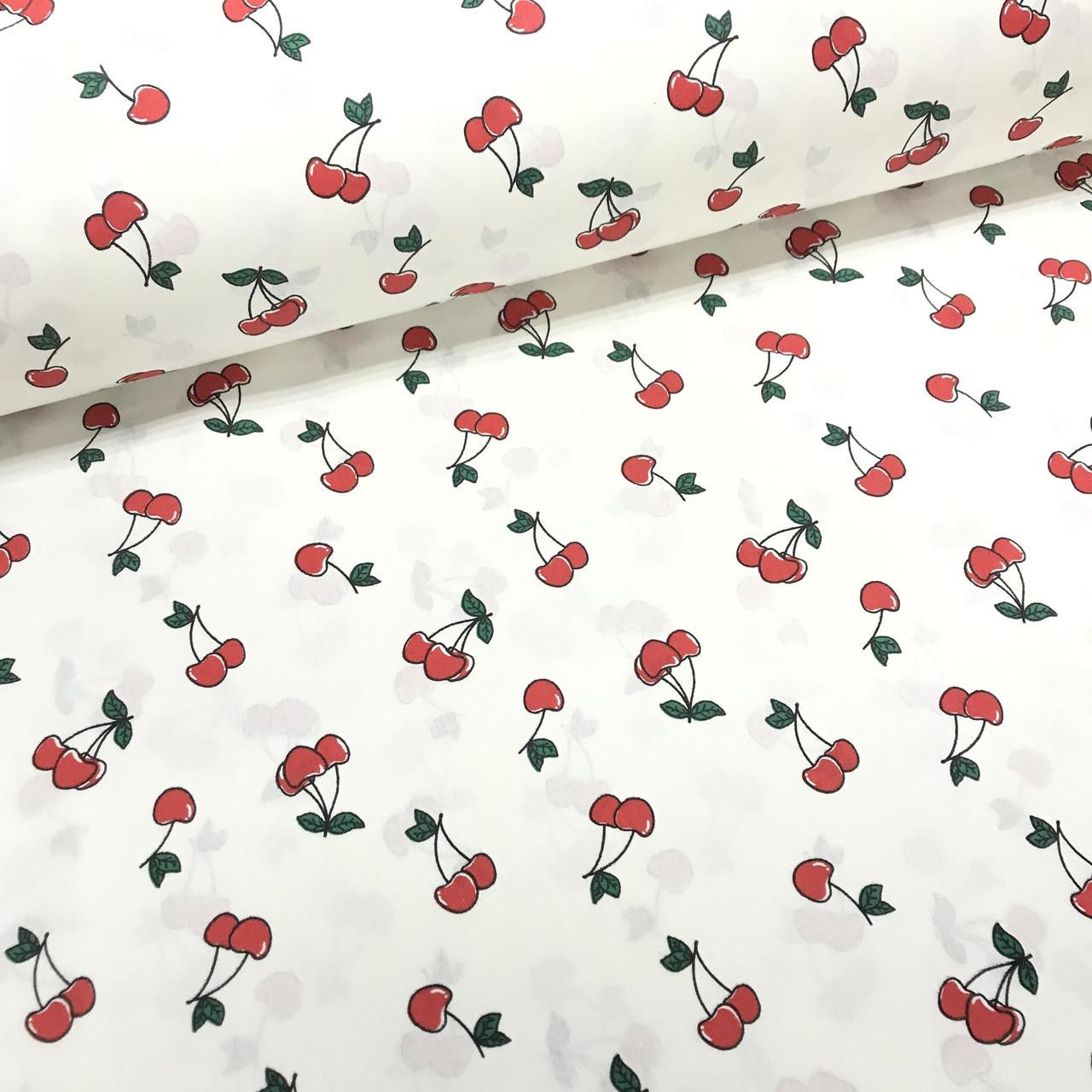 Ткань поплин вишни красные на белом (ТУРЦИЯ шир. 2,4 м)