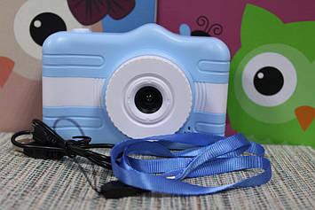 Фотоаппарат детский Kids camera голубой с белым режим видео съемки 3.5 диагональ экрана
