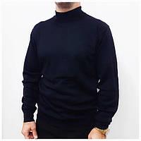 Мужской свитер под горло гольф шерстяной 48-54р. темно-синий, Турция, фото 1