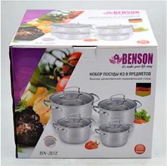 Набір каструль з нержавіючої сталі 8 предметів Benson (Німеччина) (2,1 л, 2,9 л, 3,9 л, 6,5 л)