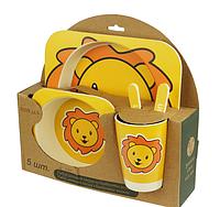 Набор детской бамбуковой посуды лев (уценка)
