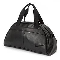 Спортивная сумка в стиле NIKE черная, сумка с плечевым ремнём и вышитым черным лого, в спортзал, тренажерку