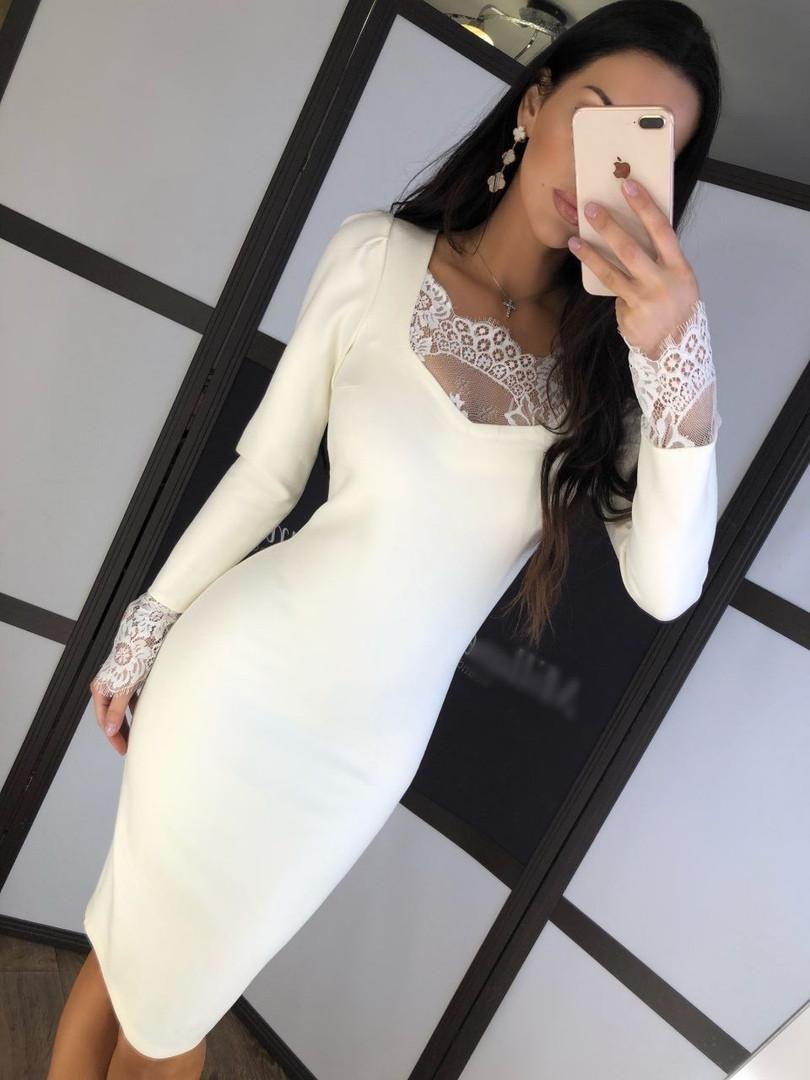 Женское нарядное белое платье-миди с кружевом