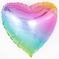 Фольгированный шар сердце омбре металлик жемчуг 45 см (Flexmetal)