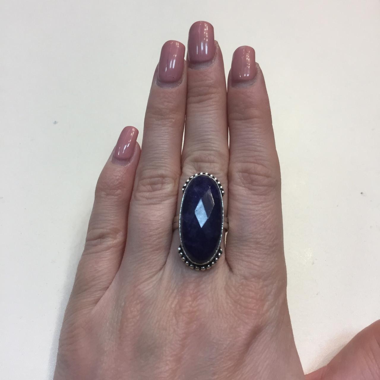 Сапфир кольцо 17,5-18 размер с индийским сапфиром в серебре