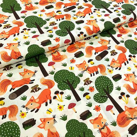 """Польская хлопковая ткань """"Лисички в лесу на молочном"""", фото 2"""