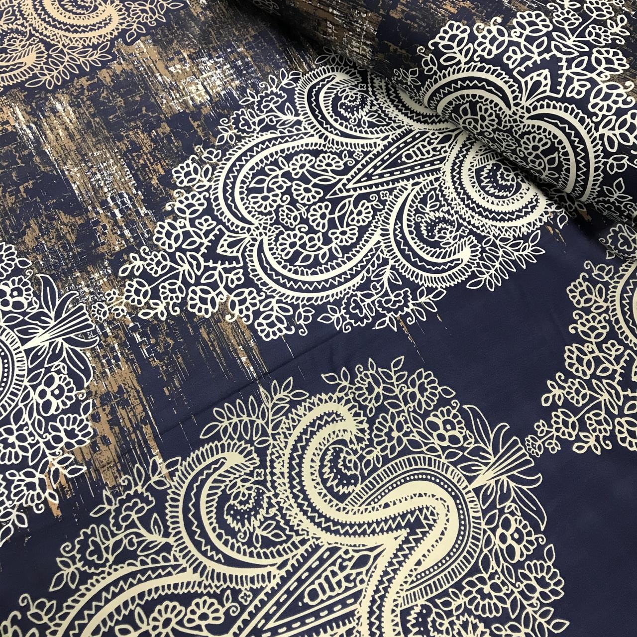 Ткань сатин с рисунком, узоры крупные разноцветные на темно-синем (ТУРЦИЯ шир. 2,4 м)
