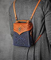 Кожаный оранжево-синийй рюкзак ручной работы, сумочка-рюкзак с авторским тиснением