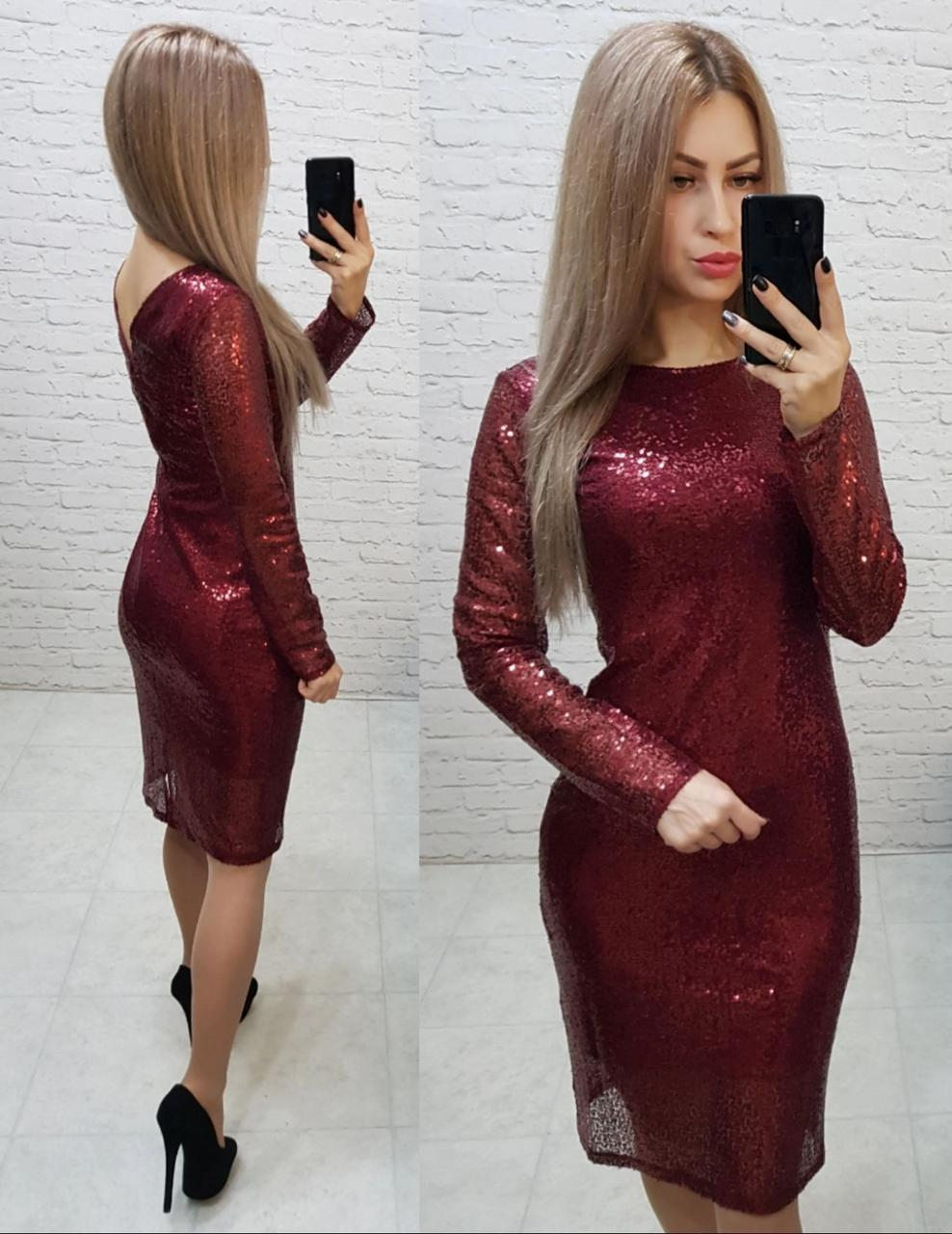 Платье нарядное на новый год с открытой спинкой арт. 184 бордо / вишня / марсала