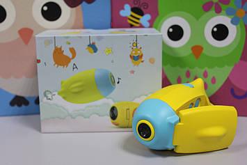 Детская видеокамера HD с фотосьемкой  Kids camera желтая с голубым в виде подводной лодки