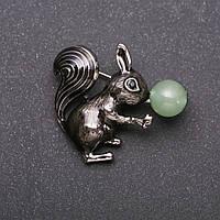 Брошь Белка с Нефритом эмаль цвет черный серебристый металл