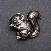 Брошь Белка эмаль цвет бронзовый серебристый металл 37х46мм