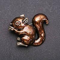 Брошь Белка эмаль цвет коричневый золотистый металл 48х38мм