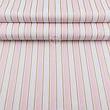 """Лоскут ткани """"Полоска розово-золотистая"""" на белом Л-2081, размер 120*30 см, фото 2"""