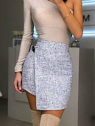 Женская нарядная юбка с пайетками,голубого цвета