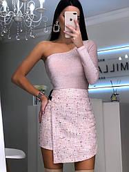 Женская нарядная юбка с пайетками,розового цвета