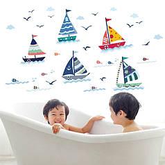 """Наклейка в детскую комнату, наклейки в ванную """"5 парусных корабликов"""" 70см*130см (лист 50*70см)"""