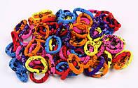 Бесшовная резинка микрфибра для волос цветная с рисунком , материал: нейлон, диаметр: 3.5 см, 100 штук