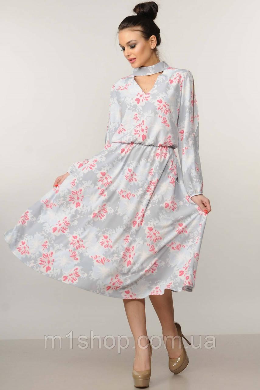 Женское цветочное платье-миди с чокером (Бохо-Миди ri)