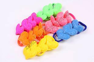 Гумка для волосся сердечко цукрове на мікрофібрі, діаметр гумки: 4 см, довжина сердечка: 5.5 см, 24 штуки