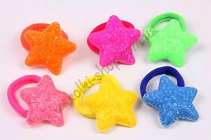 Гумка для волосся зірка цукрова на мікрофібрі, діаметр гумки: 4 см, довжина сердечка: 5.5 см, 24 штуки