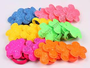 Резинка для волос цветок сахарный на микрофибре, диаметр резинки: 4 см, длина сердечка: 5.5 см, 24 штуки