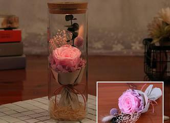 Роза в колбе с LED подсветкой РОЗОВАЯБОЛЬШАЯ №А52