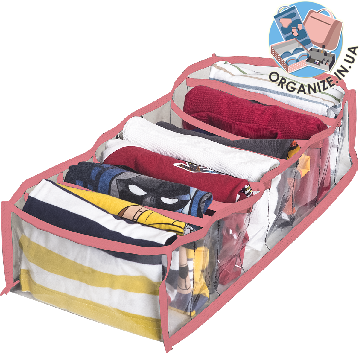 Гибкий органайзер для хранения футболок, боди, регланов М (розовый)