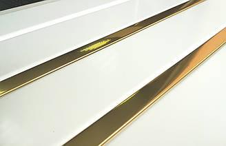 Реечный алюминиевый потолок Allux белый матовый - золото зеркальное комплект 90 см х 160 см