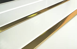 Реечный алюминиевый потолок Allux белый матовый - золото зеркальное комплект 120 см х 150 см