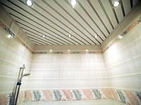 Реечный алюминиевый потолок Allux белый матовый - серебро металлик комплект 120 см х 150 см