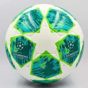 Мяч футбольный №5 PU ламин. CHAMPIONS LEAGUE FB-0151-2 (№5, 5 сл., сшит вручную, белый-зеленый)