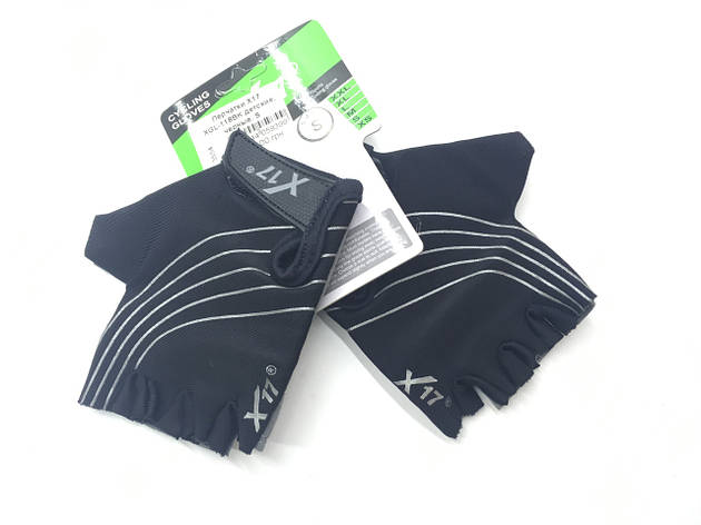 Перчатки велосипедные X17 XGL-118BK детские, черные, L, фото 2