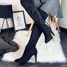 Черные замшевые сапоги, фото 2