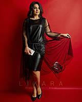 Женское,вечернее платье большого размера,ткань эко кожа стрейч, сетка, , р-ры 50,52,54,56 (921) черный