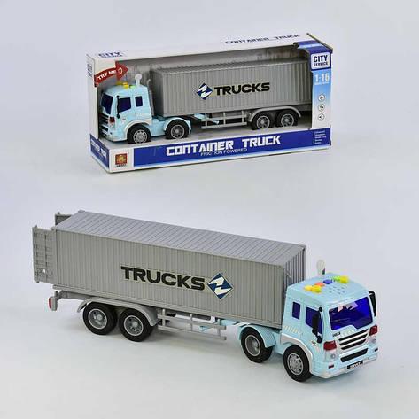 Машина Трейлер грузовой WY 575 A (18) инерция, свет, звук, в коробке, фото 2