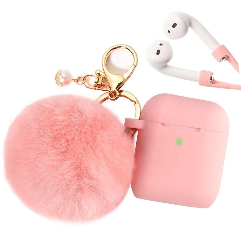 Силиконовый противоударный чехол с бубоном - Airpods Apple (Розовый)