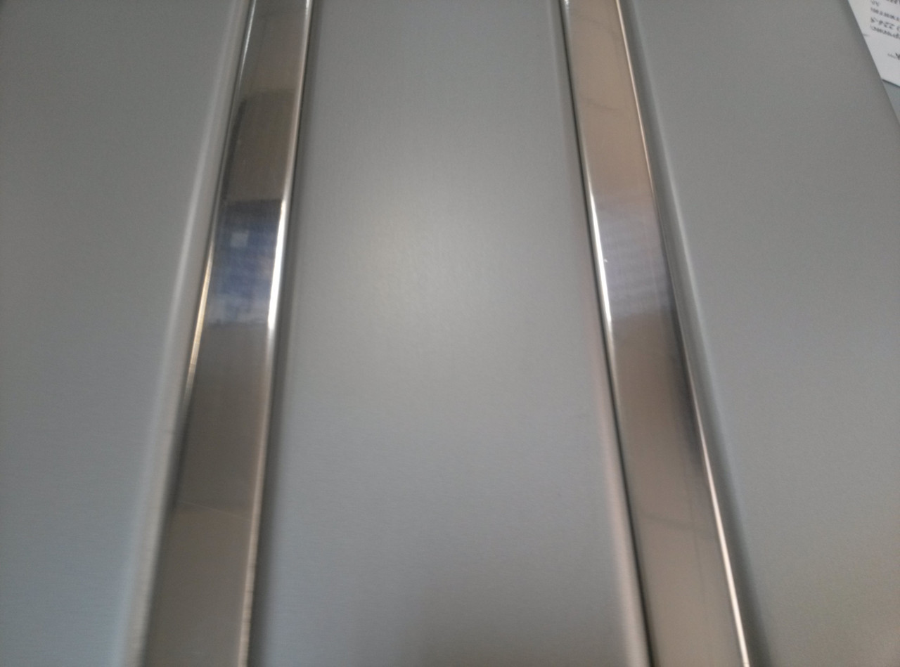 Реечный алюминиевый потолок Allux нержавейка сатин - хром зеркальный комплект 190 см х 220 см