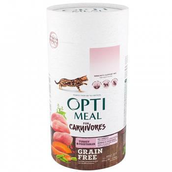 Сухой корм Optimeal Оптимил беззерновой для кошек утка и овощи, 4 кг