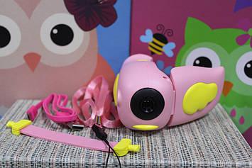 Детская видеокамера HD  Kids camera с режимом фото съемки розовая с желтым крылышком