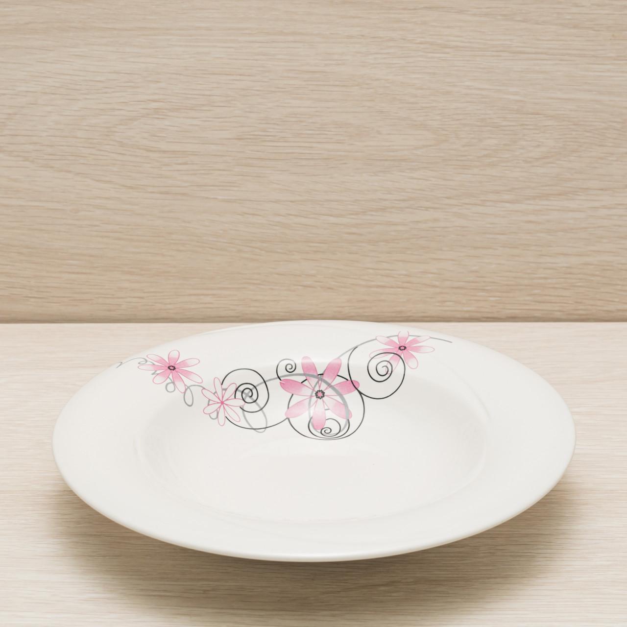 Тарелка для пасты диаметр 24 см деколь, глянцевый